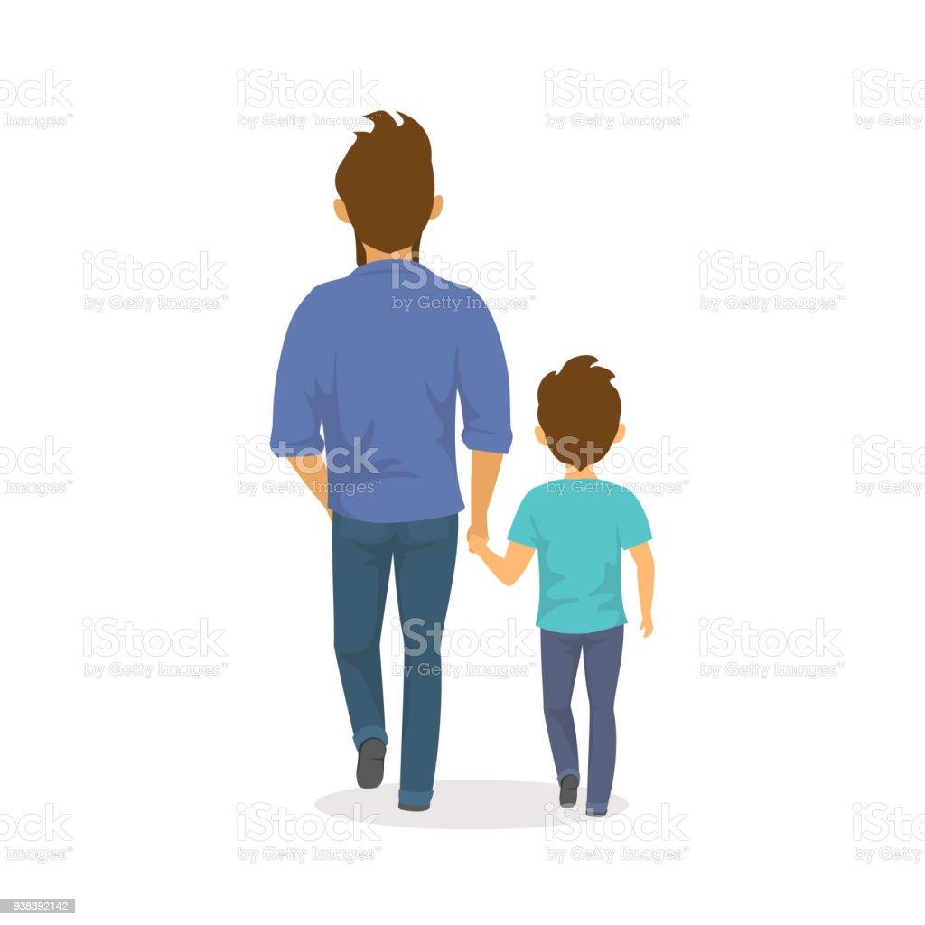 père et fils, marchons ensemble holding mains, pères heureux jour arrière vue isolé vector illustration scène - Illustration vectorielle