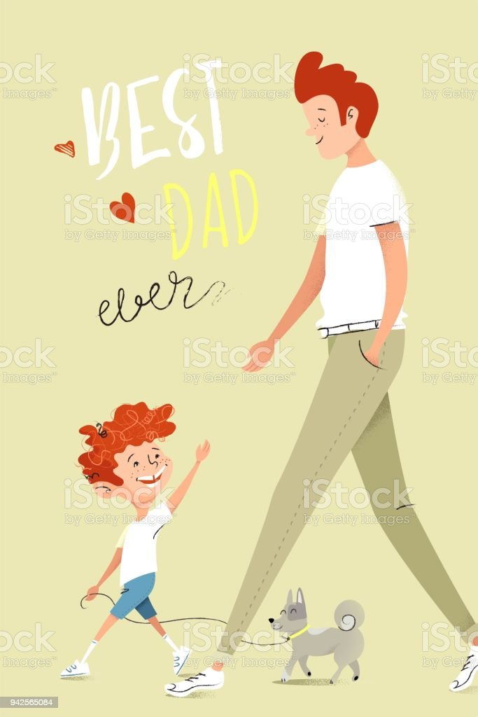 Father and son walking together. vector art illustration