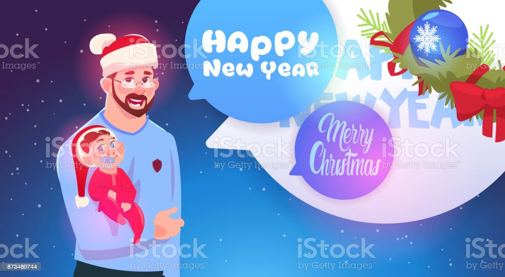 father and son wearing santa hats merry christmas and happy new year greeting card family celebration