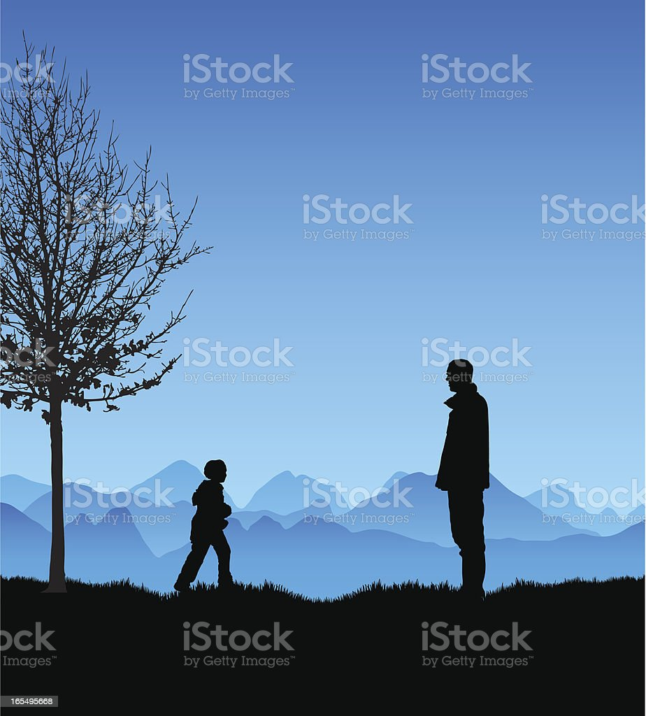 Father and son winter silhouette royalty-free stock vector art