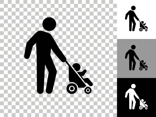 Father & Baby Icon on Checkerboard Transparent Background vector art illustration