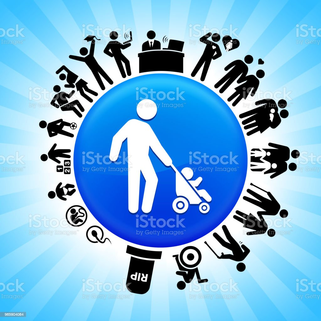 Father & Baby Lifecycle Stages of Life Background - Royalty-free Adolescence stock vector
