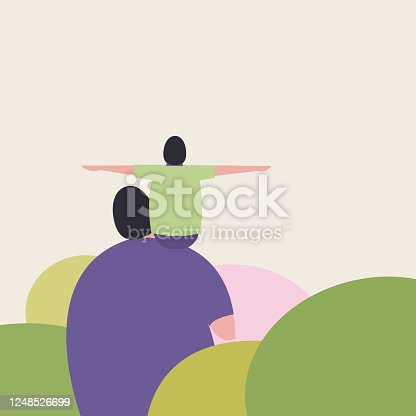 istock A father carries his son on the shoulder. Concept for father's day 1248526699