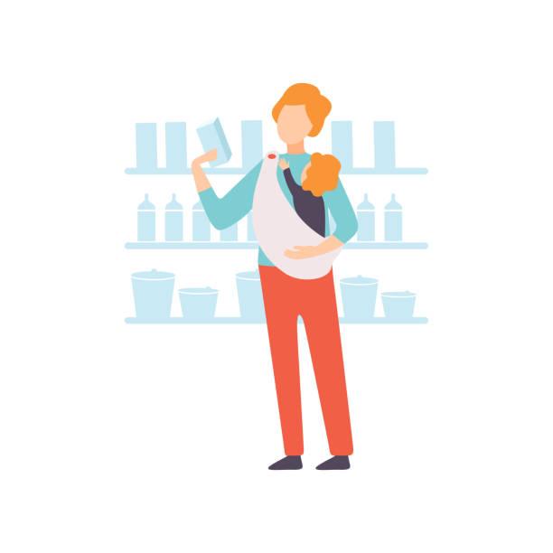 vater carrying baby in sling while shopping im supermarkt, eltern kümmern sich um seine kindervitrenkremistration - hausmannskost stock-grafiken, -clipart, -cartoons und -symbole