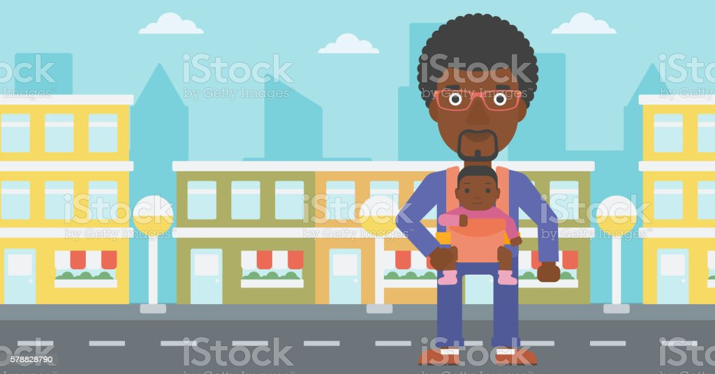 Father carrying his daughter in sling. vector art illustration