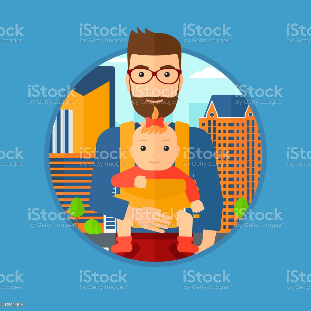 Father carrying his daughter in sling vector art illustration