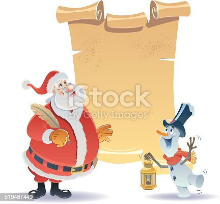 istock Father Christmas and a Little Snowman 519487449