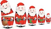 A concept illustration of a Santa nesting doll, holding a sack, a christmas, tree, a stocking and a gift, suggesting christmas, variations, scale and decreasing. Dolls ares pre-cut into two halves for easy manipulation, all dolls are on separate layers. Pdf and jpg files are included.