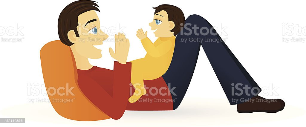 Father Clapping with Baby vector art illustration