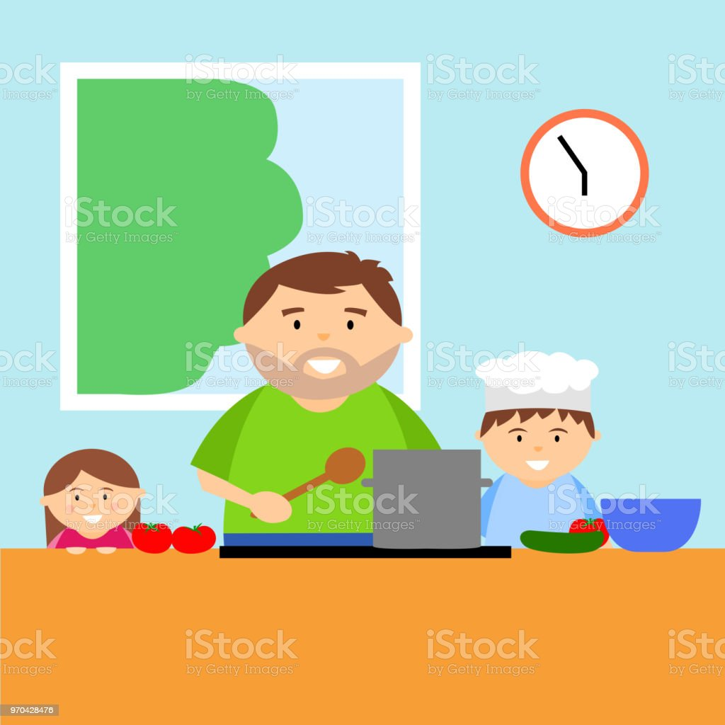 Father Cooking With Children In Kitchen Stock Vector Art & More ...