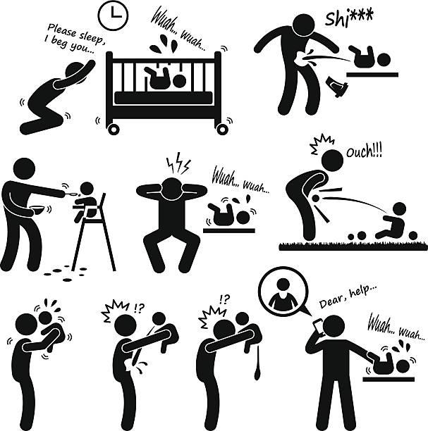 stockillustraties, clipart, cartoons en iconen met father daddy husband parenting baby pictogram - baby dirty