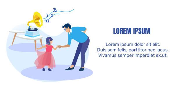 ilustraciones, imágenes clip art, dibujos animados e iconos de stock de padre bailando con el banner de texto de la pequeña hija - hija