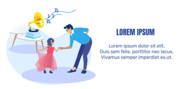 Father Dancing with Little Daughter Text Banner Father Dancing with Little Daughter in Festive Dress Invitation Text Flat Banner. Man Teaching Preschooler Girl to Dance. Gramophone Playing Loud Music. Parent and Kid. Vector Cartoon Illustration daughter stock illustrations