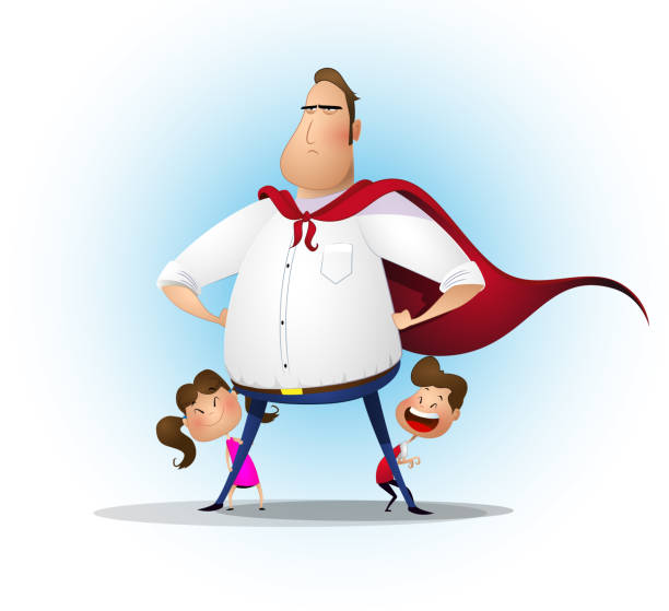 father daughter and son playing superhero at the day time. - father stock illustrations, clip art, cartoons, & icons