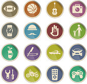 father day vector icons in the form of round paper labels