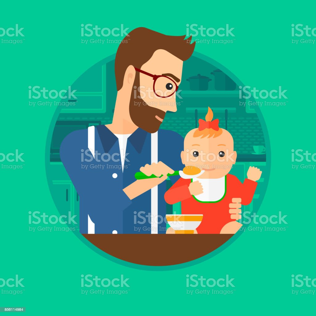 Father Feeding Baby Stock Vector Art & More Images of Adult ...