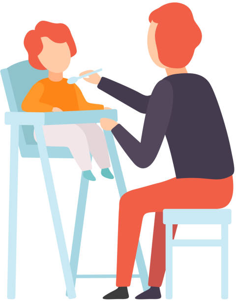 Father Feeding Baby Who is Sitting in Highchair, Parent Taking Care of His Child Vector Illustration Father Feeding Baby Who is Sitting in Highchair, Parent Taking Care of His Child Vector Illustration on White Background. stay at home father stock illustrations