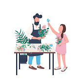 Father florist with daughter flat color vector faceless character