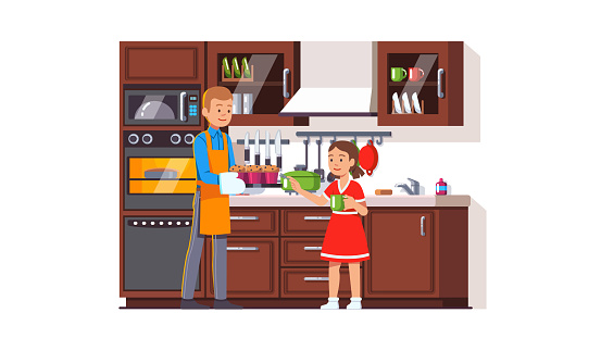 Father giving freshly cooked muffins on a tray to his daughter to try out. Retro style small kitchen interior with furniture, appliances and utensils. Family cooking at home. Flat style isolated vector