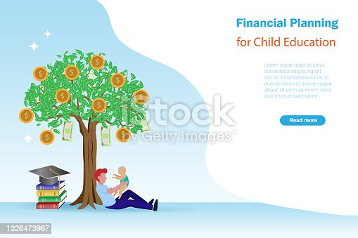 istock Father holding baby sitting under gold coins tree with books and graduation cap. 1326473967