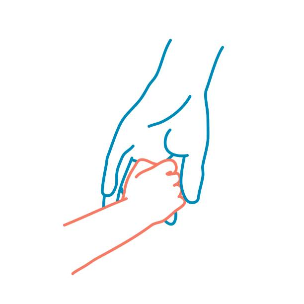 Father holds the hand of a small child. Father holds the hand of a small child. Colour line drawing vector illustration. father stock illustrations