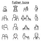 Father icon set in thin line style