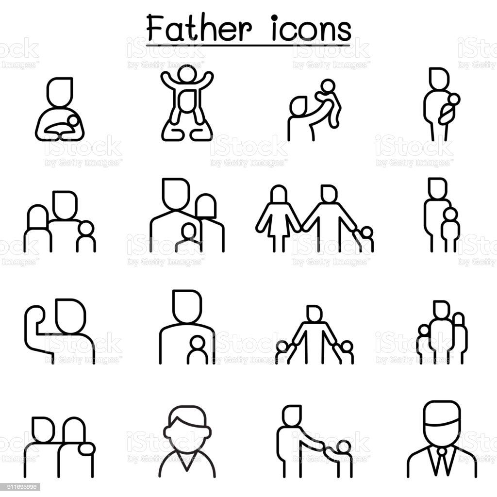 Father icon set in thin line style vector art illustration