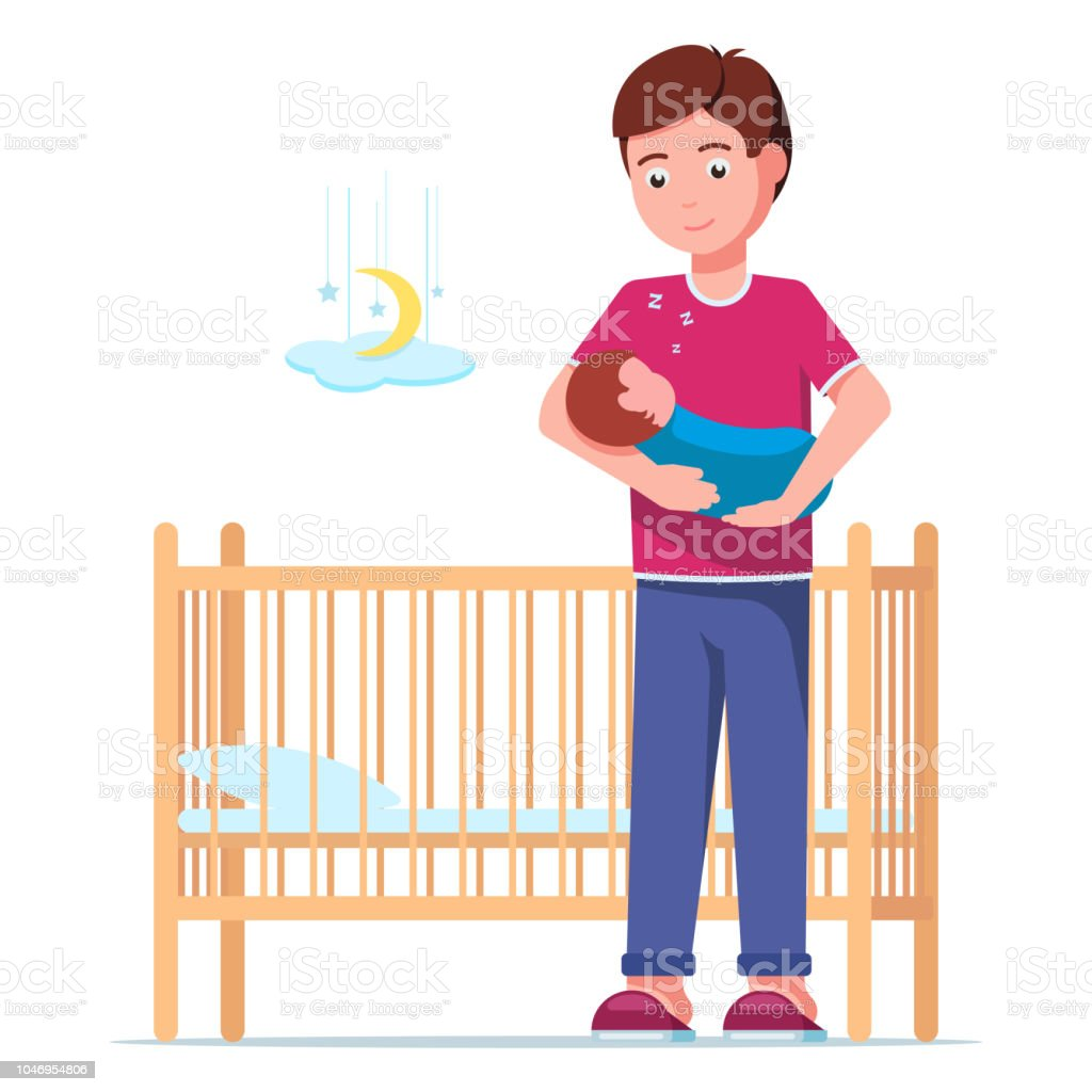 Father laying a sleeping newborn in a cot vector art illustration