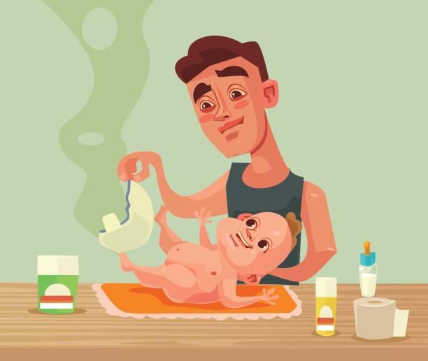 vater mann charakter änderungen baby windel - wickeltisch stock-grafiken, -clipart, -cartoons und -symbole