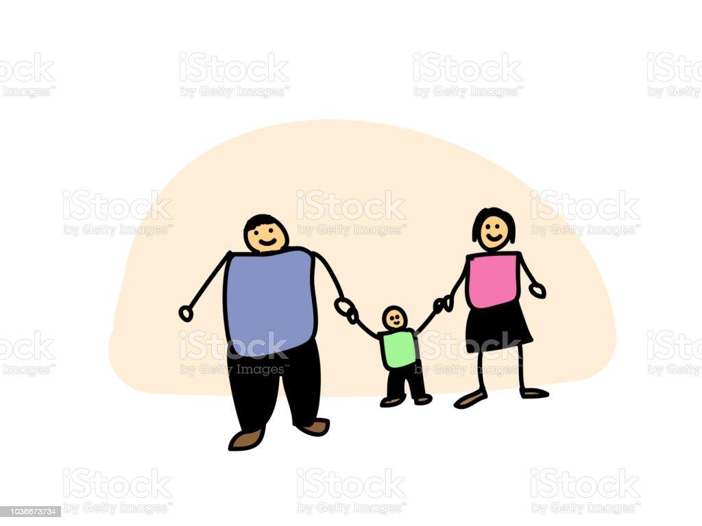 Vater Mutter Und Sohn Halten Hand In Hand Glücklich Familientag ...