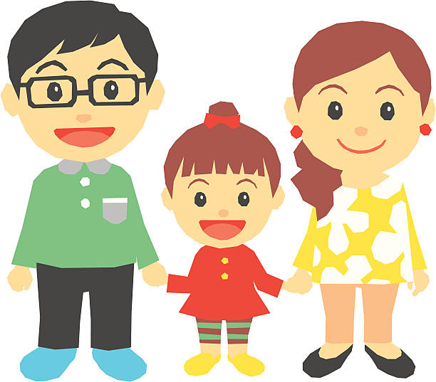 Royalty Free Family With One Child Clip Art, Vector Images