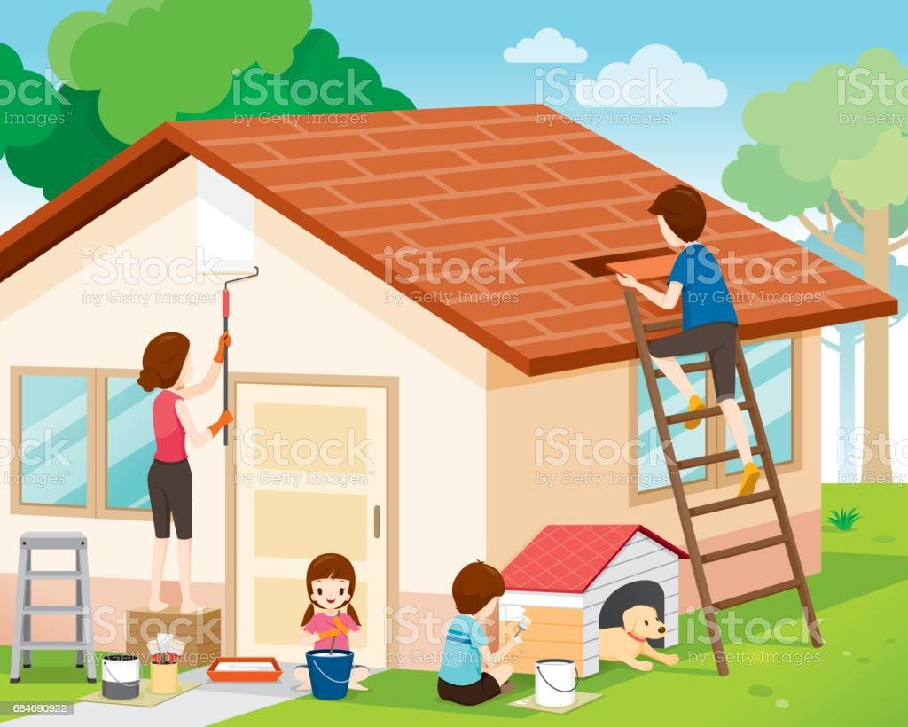 Father, Mother, Son And Daughter Repairing Home Exterior vector art illustration