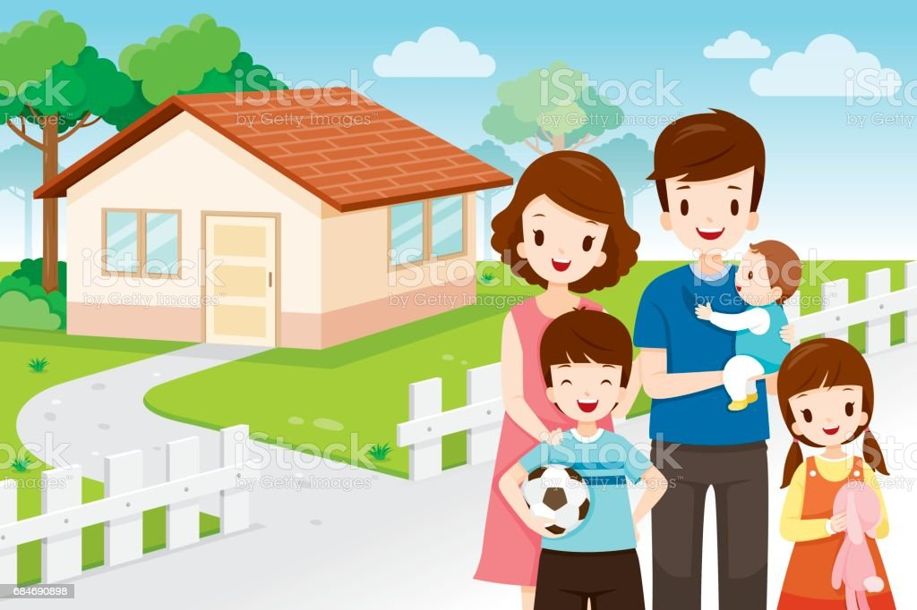 Father, Mother, Son And Daughter Standing Front Their Family Home vector art illustration