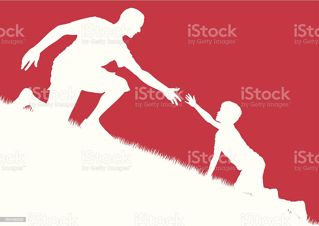 Father offers helping hand to son vector art illustration
