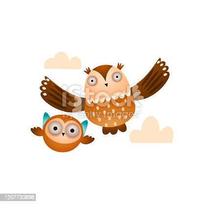 Father owl with his kid owl flying in the cloudy sky, lesson of flying. Cartoon style. Vector illustration on white background