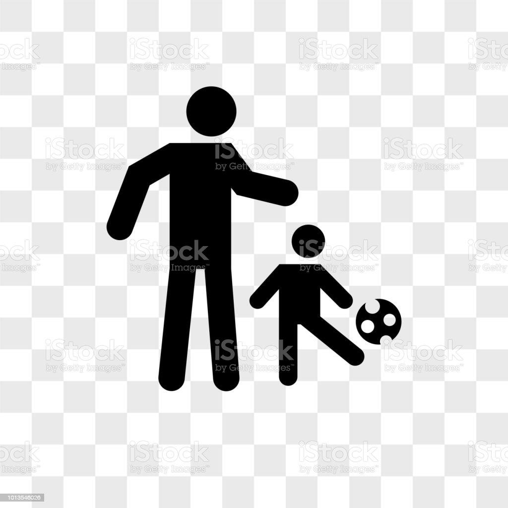 Vater Spielen Fussball Mit Seinem Sohn Vektor Icon Auf
