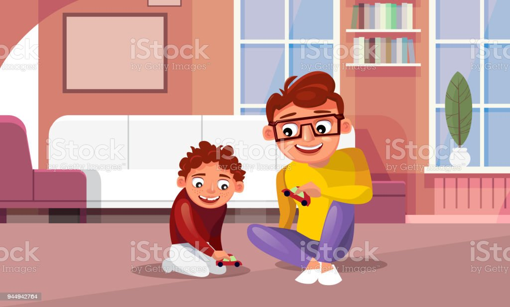 Père, jouant des autos miniatures avec fils à la maison dans le salon - clipart vectoriel de Adulte libre de droits