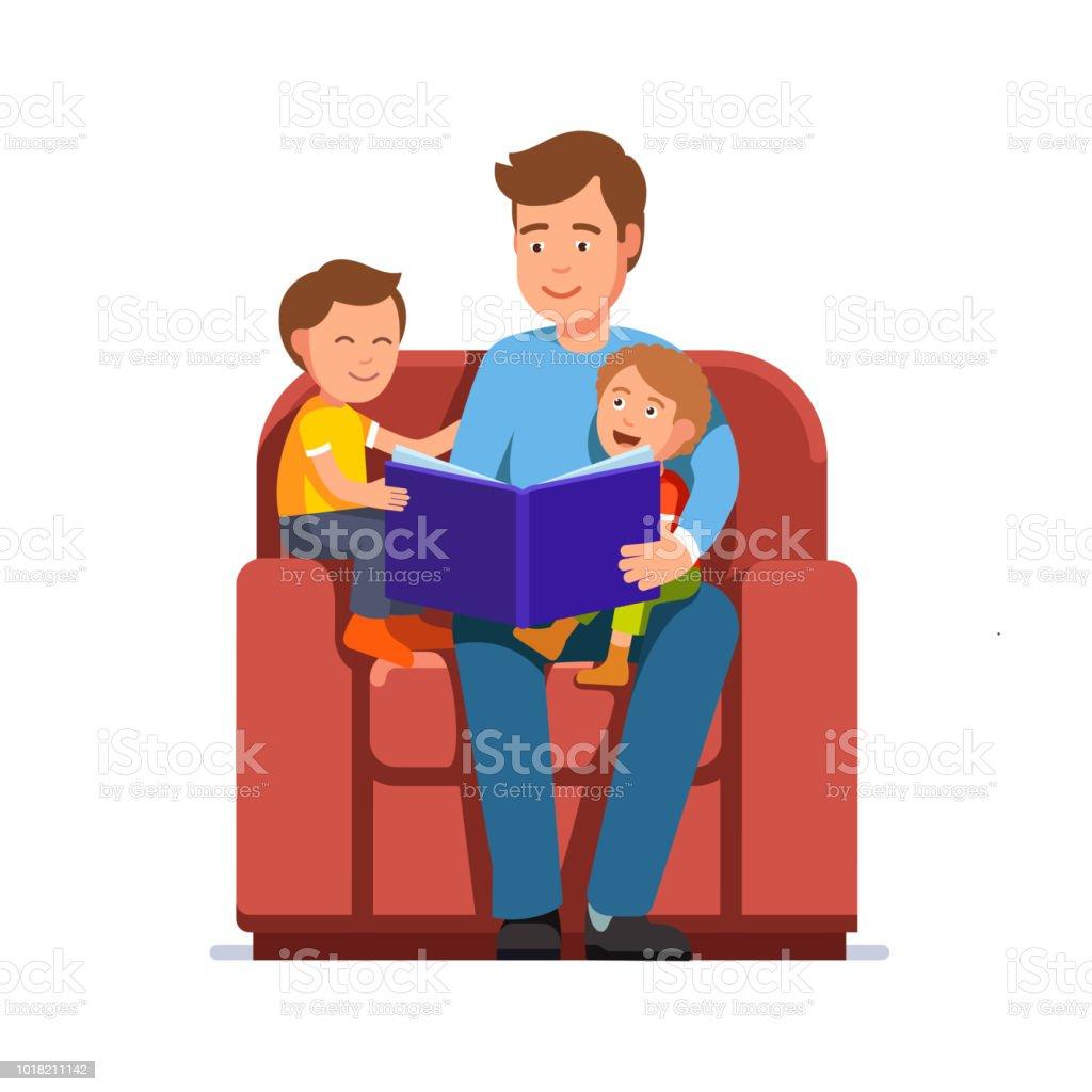Far uppläst kid bok till söner som sitter i stora fåtölj tillsammans. Flat vektor clipart illustration. - Royaltyfri Anställd vektorgrafik