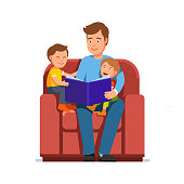 Father read aloud kid book to sons sitting in big armchair together. Flat vector clipart illustration.