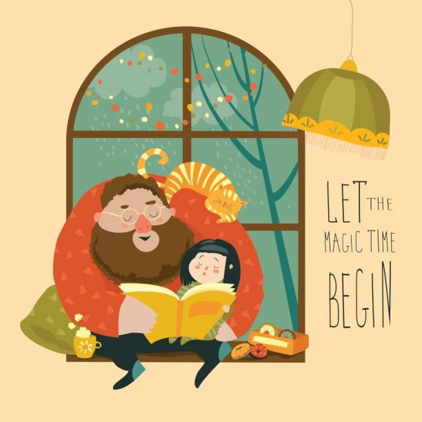bildbanksillustrationer, clip art samt tecknat material och ikoner med far en bok till sin dotter - children autumn