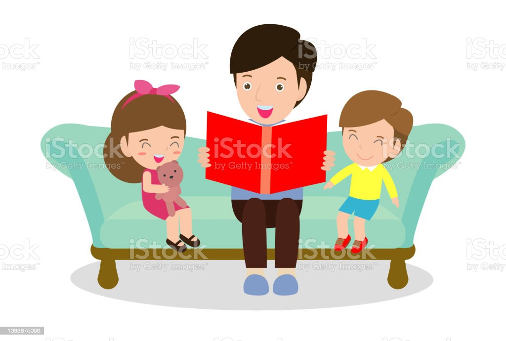 Adult, Art, Baby - Human Age, Book, Boys. father reading fairy tales ...