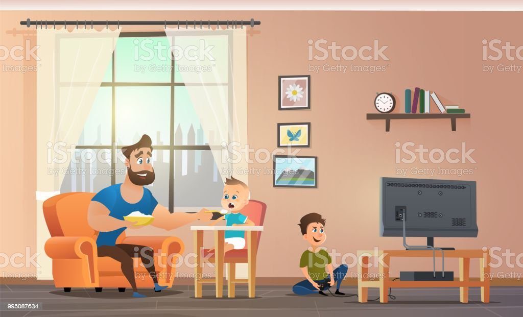 Father Sitting at Home With Childrens Vector vector art illustration