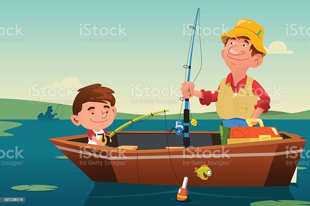 Father Son Fishing vector art illustration