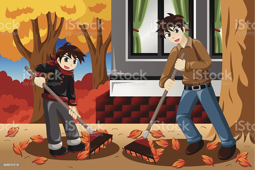 Father son raking leaves during Fall season vector art illustration