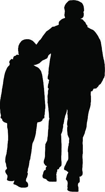 Vater Sohn Silhouette & – Vektorgrafik