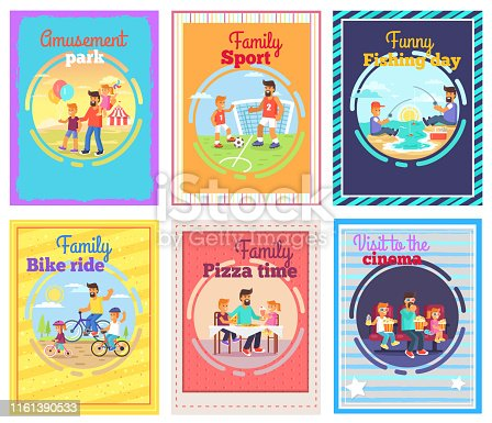 istock Father Spends Time with Children Illustrations Set 1161390533