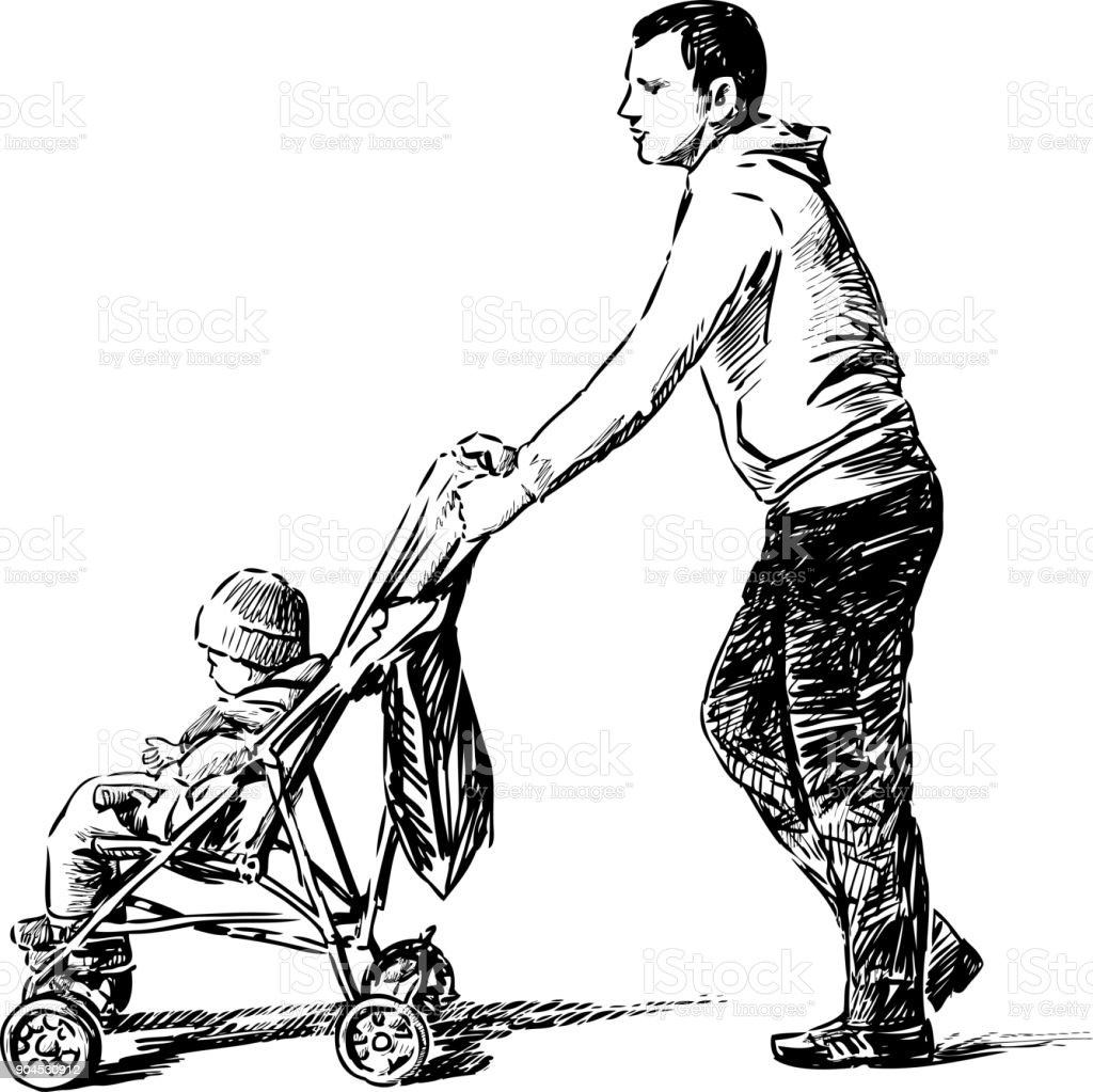 Father strolls with his kid vector art illustration