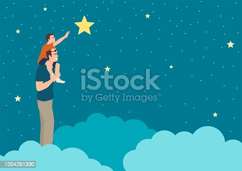 istock Father support his son reaching a star 1204261330