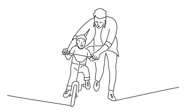 bildbanksillustrationer, clip art samt tecknat material och ikoner med far lär sonen att cykla. - pappa son