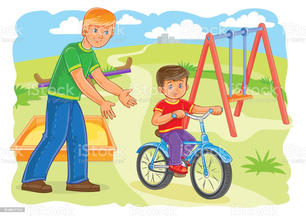 Father teaches to ride a bike little boy vector art illustration